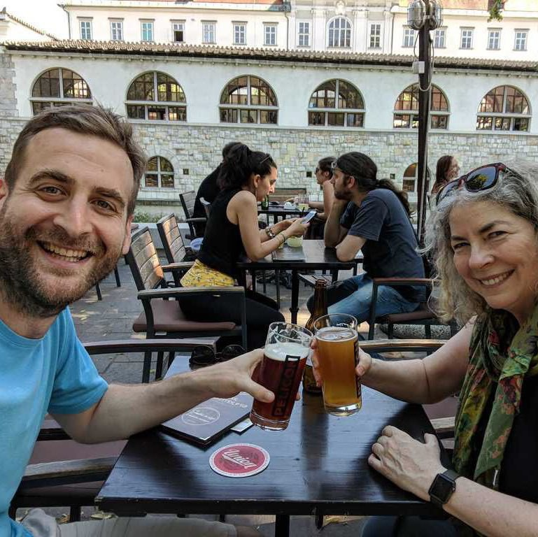 anže and jean and beer in Ljubljana.