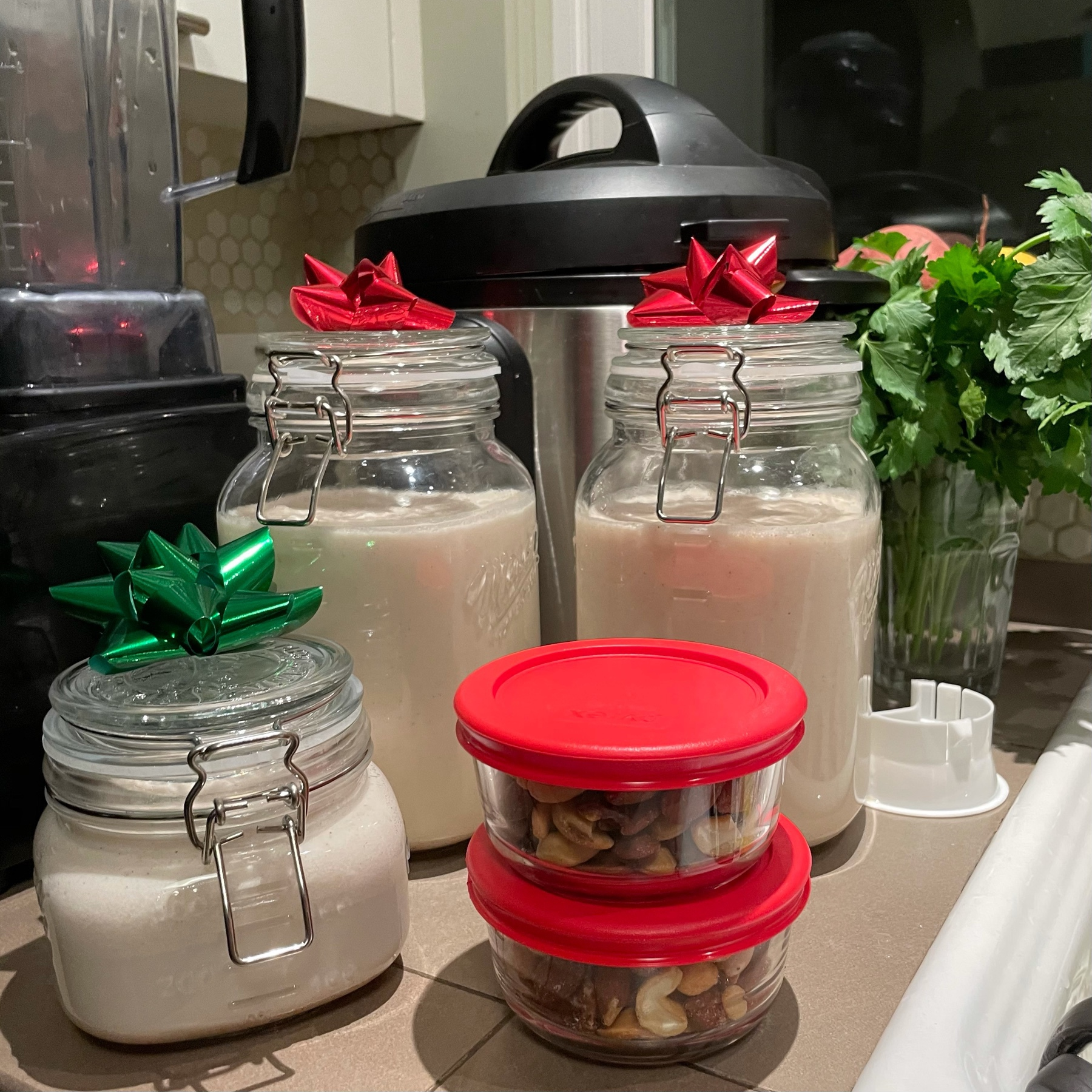 mason jars of coconut nog, aka coquito