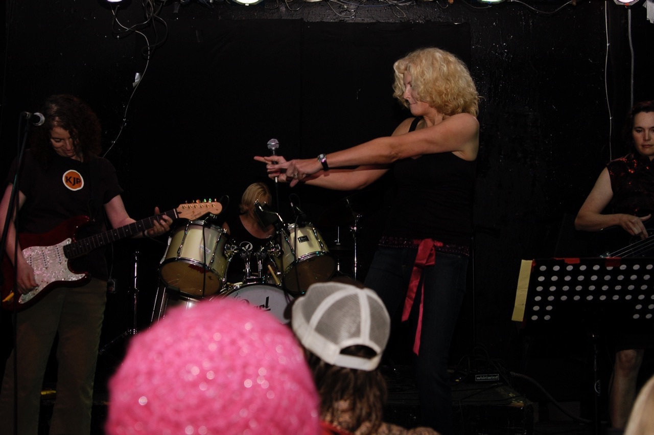 Jean and Kim at the debut of The Toxic Sheilas, 2008.