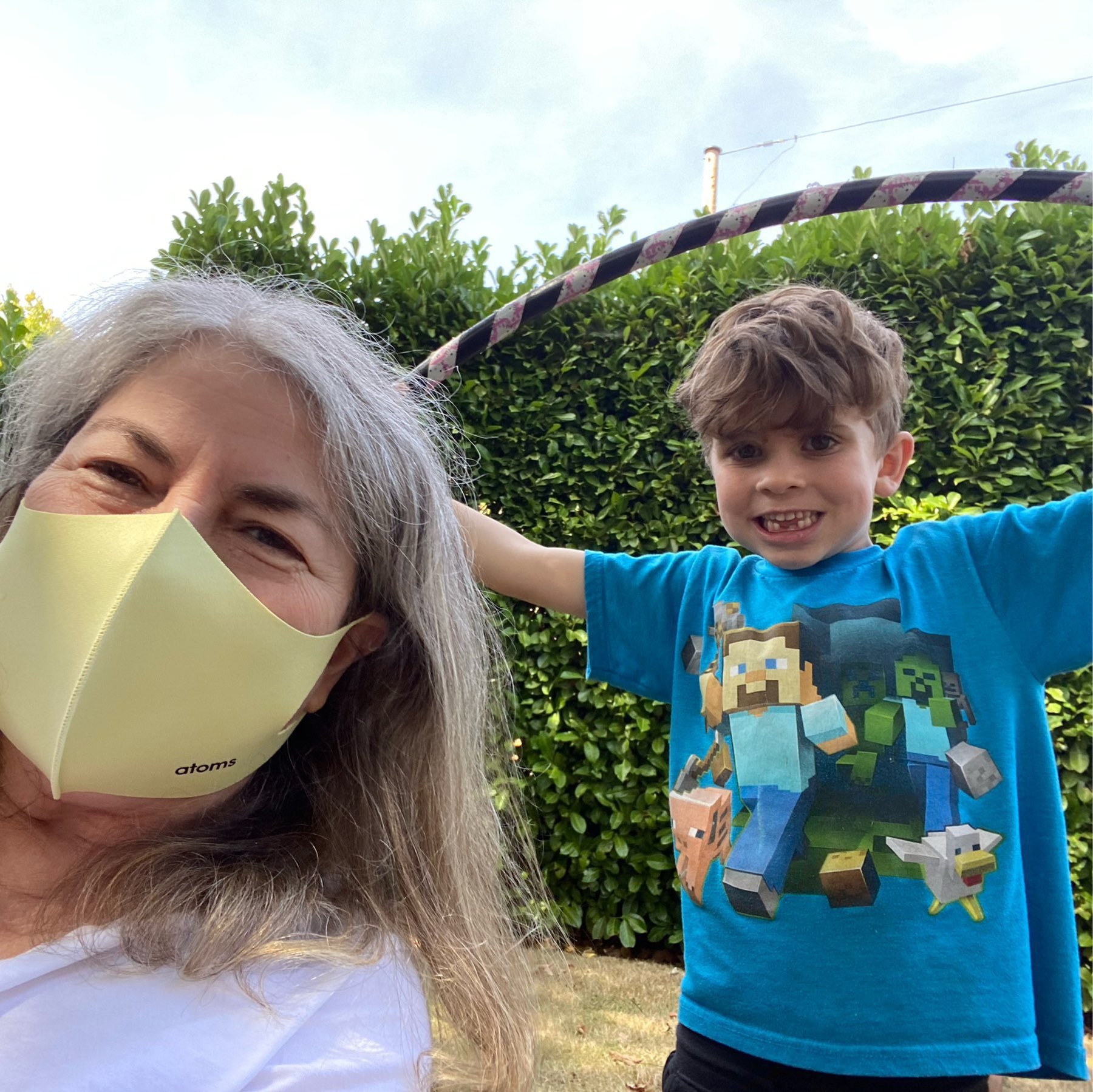me in a mask, nephew with a hula hoop
