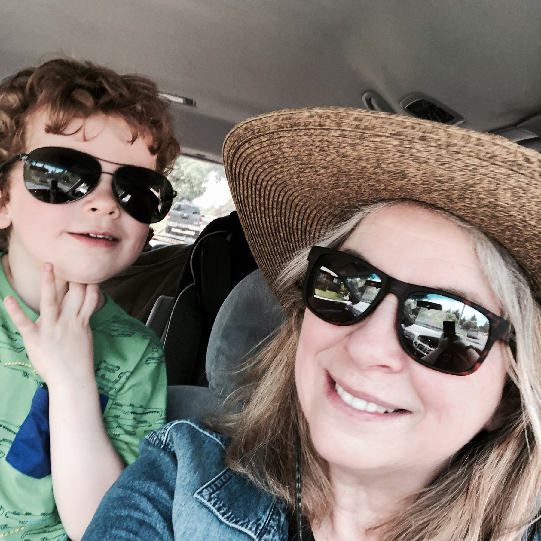 Nephew and aunt in sunglasses.