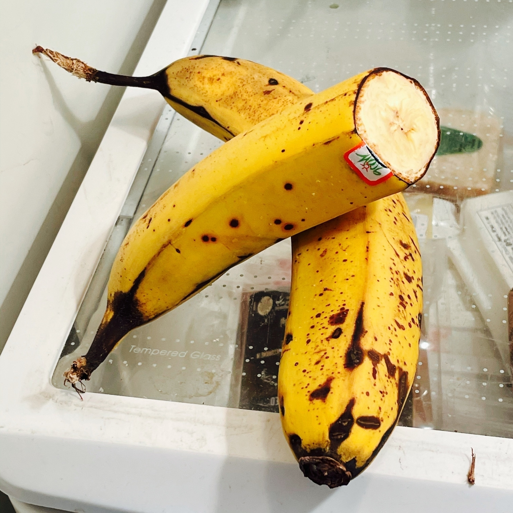 one and a half bananas in the refrigerator