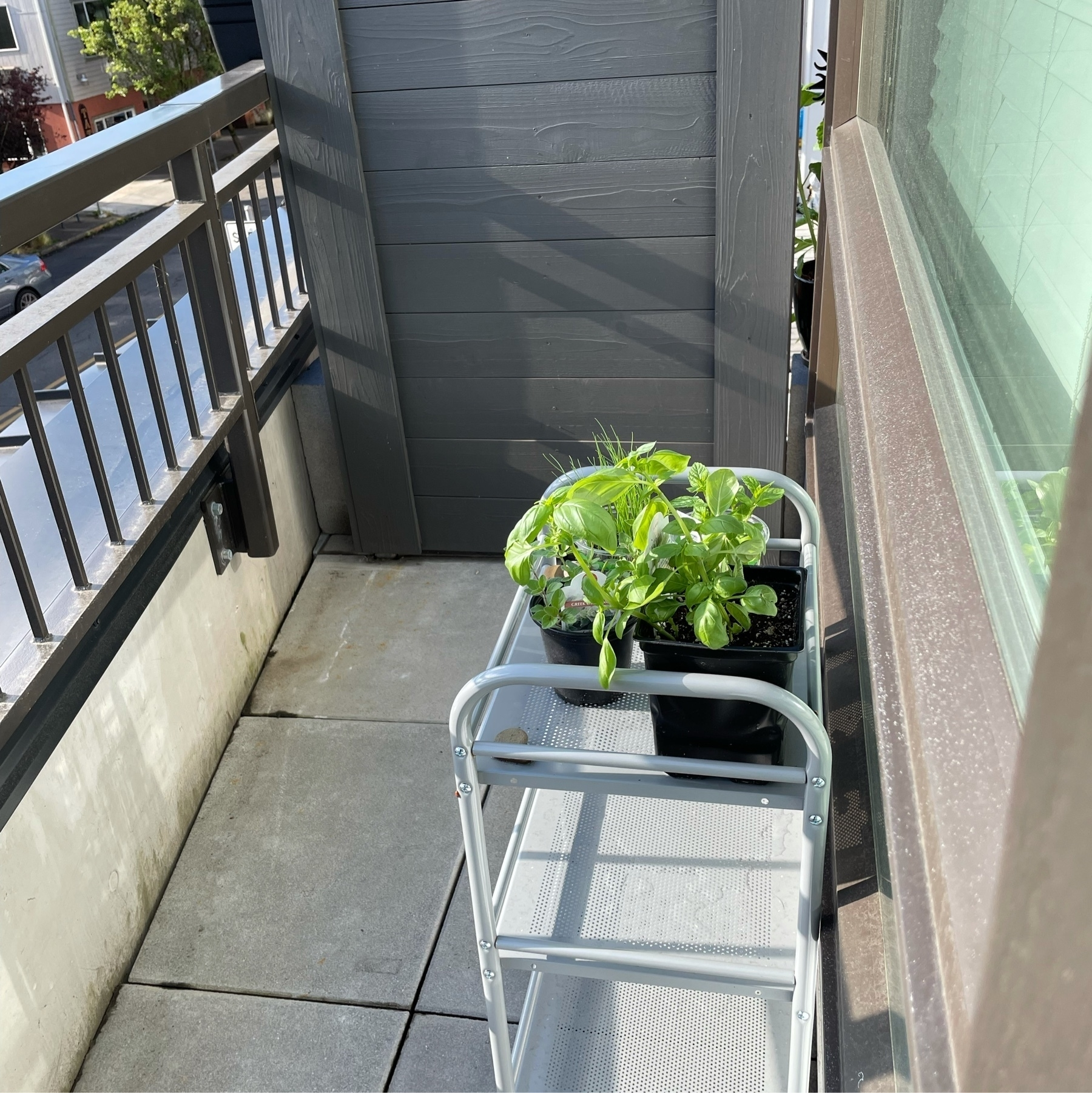 Herb planter on a balcony